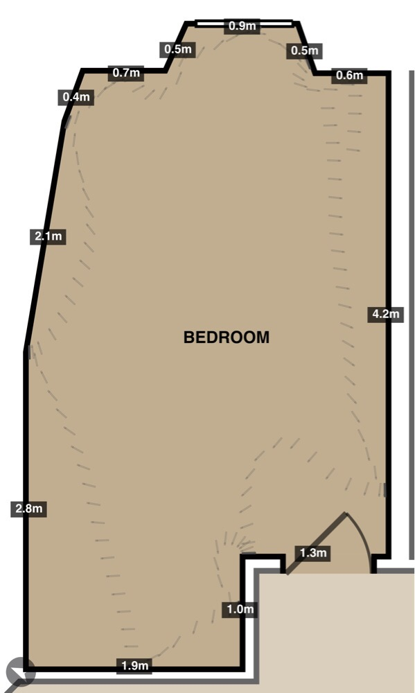 Slightly inaccurate floorplan of our bedroom