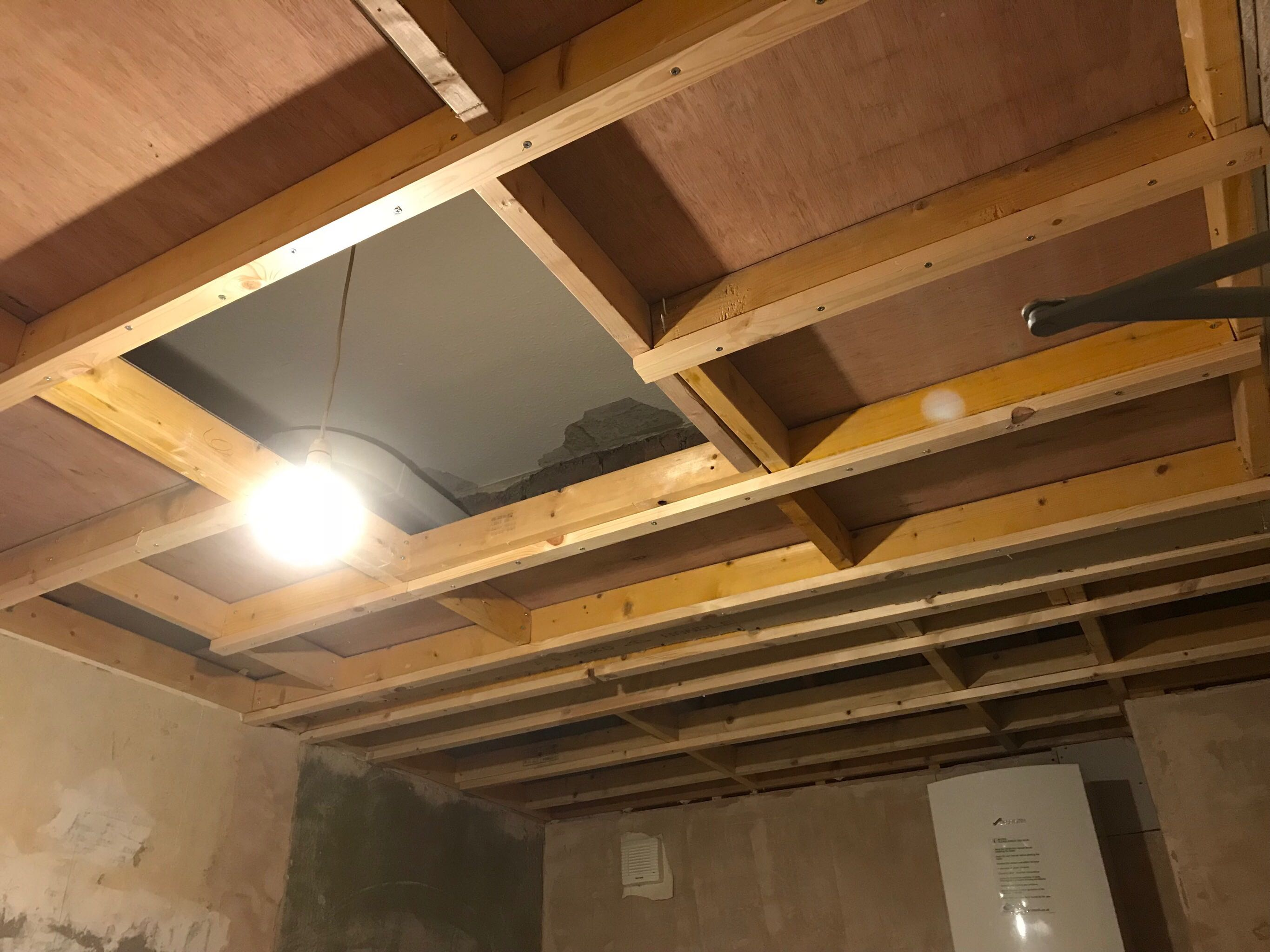 Ceiling studs ready for plasterboard
