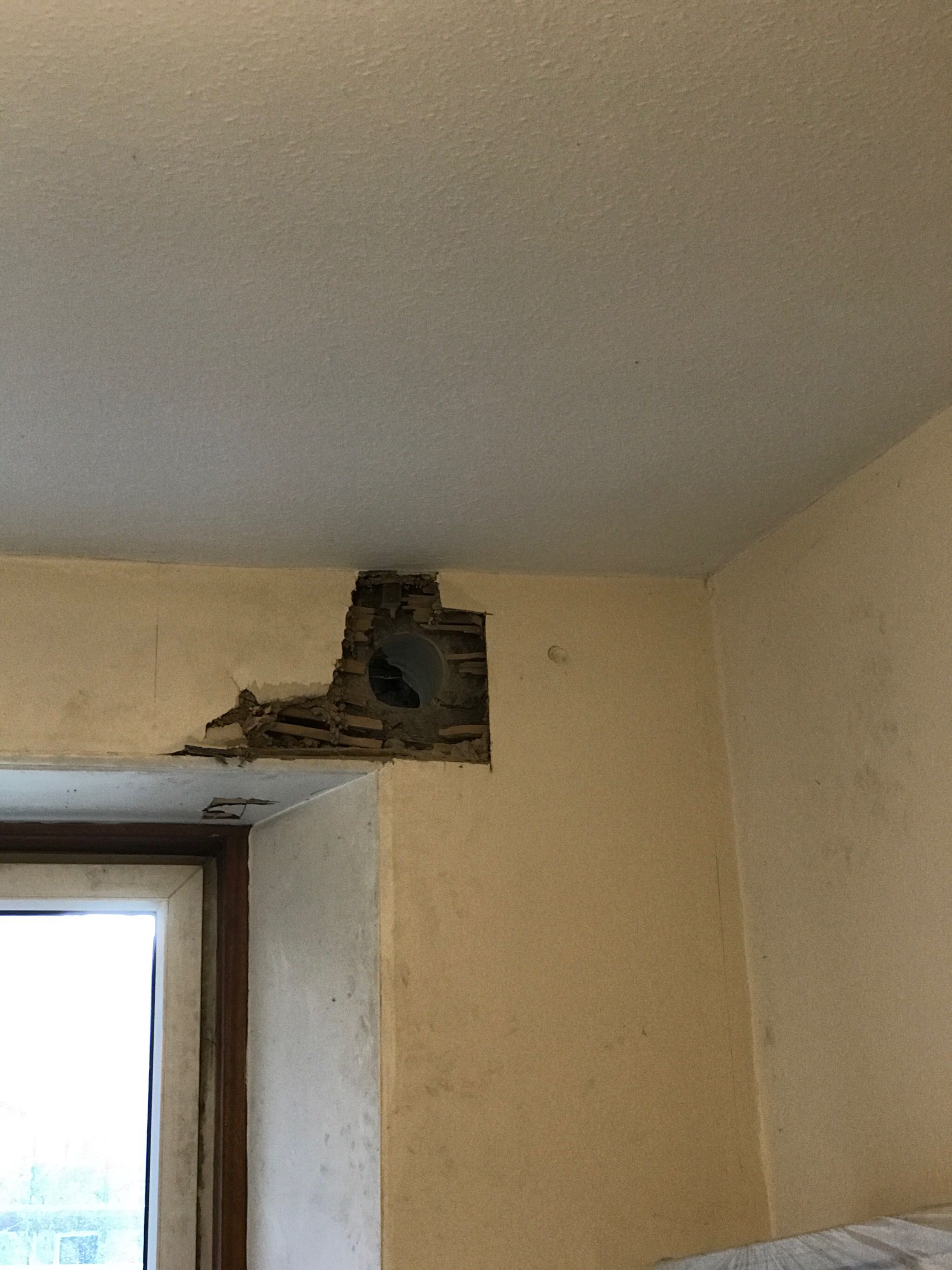 Hole for a flue, in the wrong place
