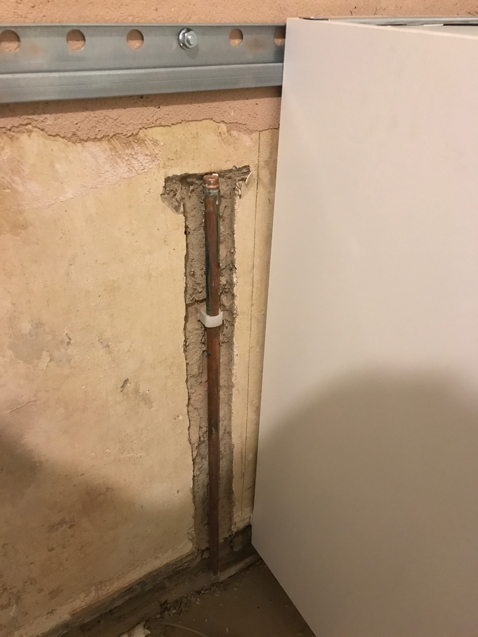 Gas pipe chased into wall